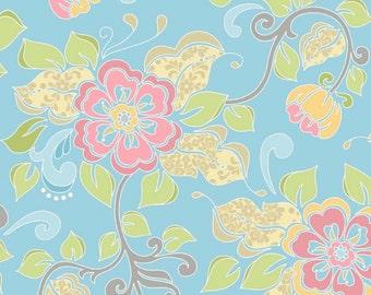 Flowers in Blue , Priscilla, Riley Blake Designs, Flora, Garden, Spring, Summer, 100% Quilting Cotton Fabric, Choose your Cut