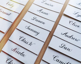 Custom Handwritten Calligraphy Place Cards. Gold, Silver or Black on Pearlescent Card.