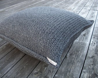 wool footstool-knitted pouf-floor cushion-grey knit chair-knitting ottoman-kids pouf-gray floor cushion-pillow kids pouf-grey yarn-linen