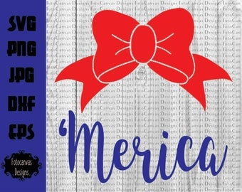 Bow 'Merica SVG, 4th of July, Independence Day, Memorial Day, Summer, Children, Girls, Bow SVG, Silhouette Cameo, Circuit, IronOn