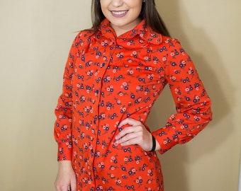 70s Orange Floral Dress