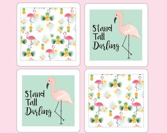 Flamingo magnet set, flamingo magnets, fridge magnets, summer magnets, summer gift, flamingo art