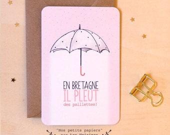 """Postcard """"In Britain, it's raining"""""""