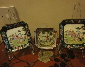 Set of Three Chinese Sqaure enamel plates in various designs