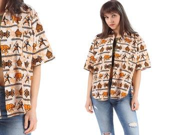 Safari Shirt Jungle 70s Animal ELEPHANT Print  80s Grunge Top Africa Hunting Print Blouse 1980s Button Up Retro Short Sleeve Beige Large