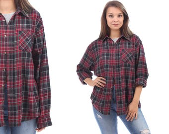 Plaid FLANNEL Shirt Button Up 90s Grunge Red Black White Flannel Cotton Checkered Long Sleeve Lumberjack Vintage Button Up Medium to Large