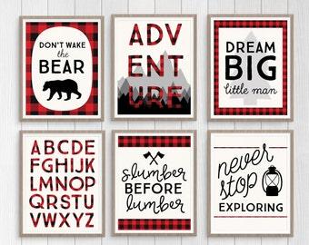 Lumberjack Nursery Set, Buffalo Plaid Instant Download Nursery Decor, Don't Wake the Bear Print, Adventure Print, Alphabet Print, Dream Big