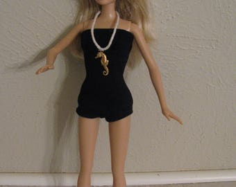 Barbie doll clothes-swimsuit with seahorse