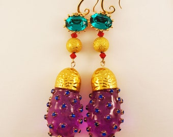 Multicolor and gold earrings