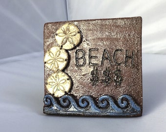 At the Beach Rustic Tile Wall Hanging with  Sand Dollars/Beach Money