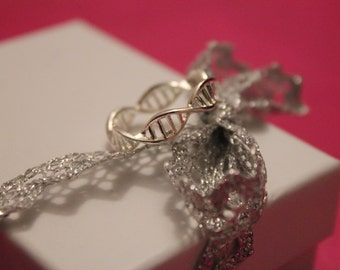 Silver Plated Forever DNA Ring Size 7