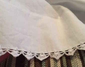 Vintage Pillowcases White Cotton Crochet Trim