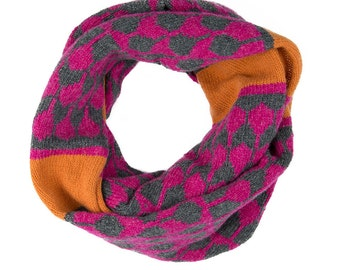 Cashmere knitted cowl - luxury pattern snood - droplet fairisle pattern - wool cashmere cowl - pink orange grey - machine knitted