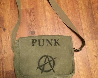 Army Canvas Punk Messenger Bag