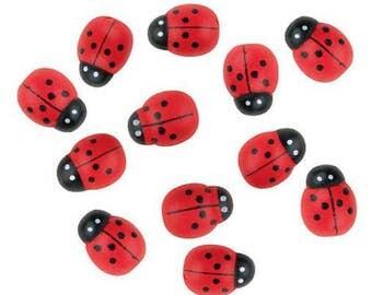 Wooden Ladybug 12 pcs, Cute Little Red Ladybugs  1,6cm (0,63 inch), Ladybugs for Scrapbooking, Arranging, Decorating, Gluing, Embellishments