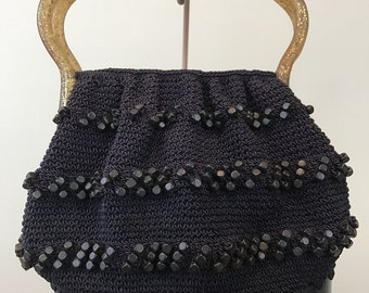 Vintage 1950's Lucite and Crocheted Beaded Purse Black / Clear Gold Sparkle Lucite Twist Snap Lock Handle and Black Lucite Oval Base