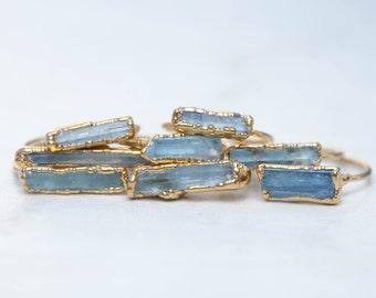 Rough Aquamarine Ring - Raw Aquamarine Ring - Blue Aquamarine Statement Ring - March Birthstone Ring - Raw Crystal Ring - 14k Gold Filled