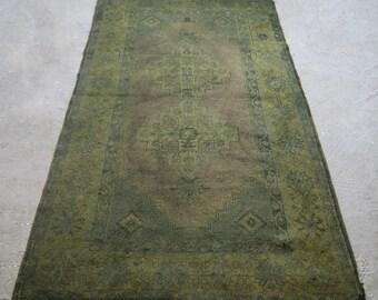 3'9''x6'8'' Green Vintage Carpet, Overdyed Turkish Rug, Color Reform Carpet