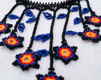Huichol Joyeria Set- Choker Style Necklace- Matching Earrings {Light Blue&Dark Blue} {Dark Blue with Red and Orange}
