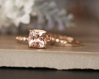 Morganite Wedding Ring Set, Engagement Ring, Diamond Milgrain Band, Rose Gold Bridal Ring set, 9mm Cushion Morganite Ring, Diamond Band