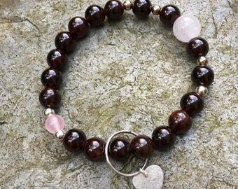 Garnet and Rose Quartz Bracelet Sterling Silver Heart Charm