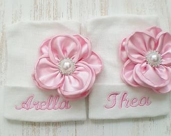 Twin girl hospital hats- baby girl hats, newborn beanies, baby girls, newborn girls, twin girls, twin hospital hats, personalized twins