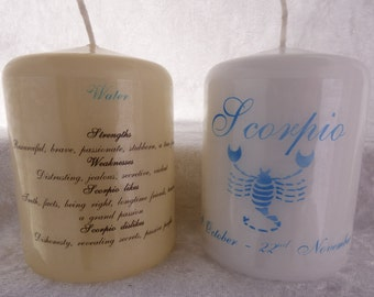 3 Inch - Zodiac Candle with Strengths, Weaknesses, Like & Dislikes - Scorpio