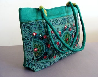 Green embroidered Tote Bag, Tribal Design Pattern bag, Multicolor bag, Authentic bag, Indian glass embroidery, Bohemian emerlad Bag
