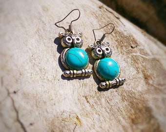 Turquoise Owl earrings,turquoise earrings,earrings,owls,dangling earrings