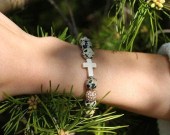 Dalmatian Jasper Stone Bracelet with Cross and Crystal Beaded Accent
