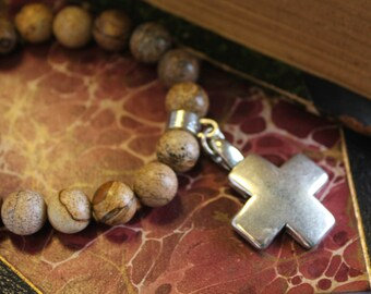 Tiger Jasper Hand Beaded Bracelet with Cross Charm