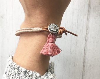 Womens Leather tassel Wrap Bracelet taupe-Boho wrap bracelet, wrap bracelet, womens leather bracelet, womens bracelet, stackable bracelet