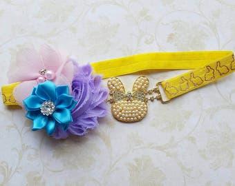 Easter bunny headband - baby pearls bunny headband - Easter headband - Easter headband - newborn headband - girl bunny headband - baby gift