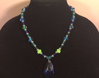 Hand Made Royal Blue Necklace - Green Accents