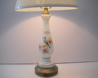Bird Lamp with White Pleated Shade  2 Available