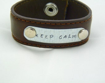 leather cuff bracelet. Hand stamped leather cuff, leather belt bracelet, upcycled leather cuff, keep calm, repurposed jewelry, mens gift