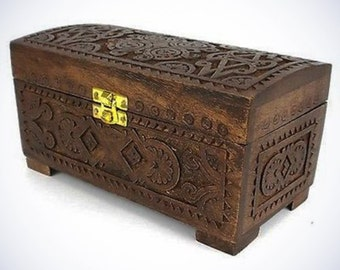 Handcrafted Carved Mango Wood Chest With Latch Hand Carved Box