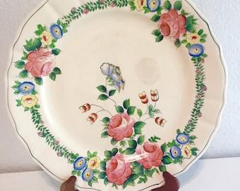 Spring floral handpainted vintage plate/teaparty/ bridal shower decor