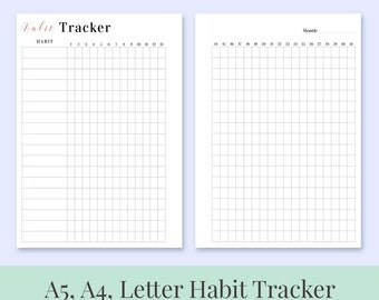 A5, A4, Letter Printable Planner Insert HABIT TRACKER - CLASSIC