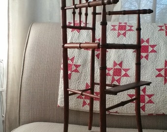 Doll highchair, bamboo with woven seat