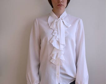1970's white ruffled blouse