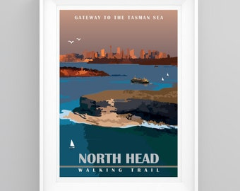 Vintage Travel Poster Sydney Harbour North Head, Manly. Handmade, A4 or A3 size, CUSTOMISABLE