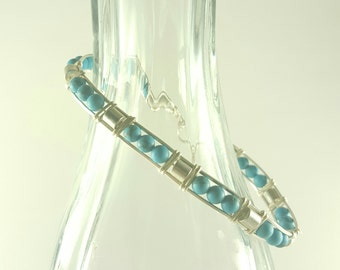 Turquoise silver wire beaded bangle bracelet
