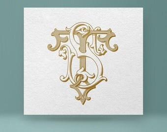 Vintage monogram ST - TS | Wedding Monogram