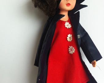 1970's Sindy Clothes, April showers Rain mac, hat, plastic boots, red shift dress.