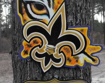 Louisiana Door Hanger LSU  -GEAUX TIGERS- Lsu logo Louisiana shape fleur de lis decor-Saints Door Hanger