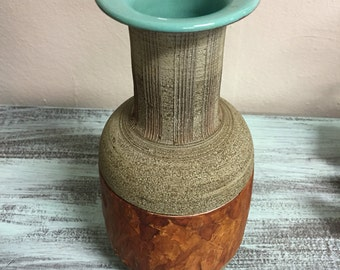 1950's Aldo Londi ceramic vase with incised band of people for Frantelli Franciullacci mid century made in Italy