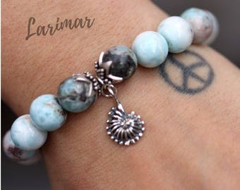 Larimar Crystal 925 Silver Beaded Elastic Stretchable Sea Shell Heart Charm
