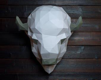 Pre-cut and Pre-scored Buffalo Head Kit - Low Poly Animal Head