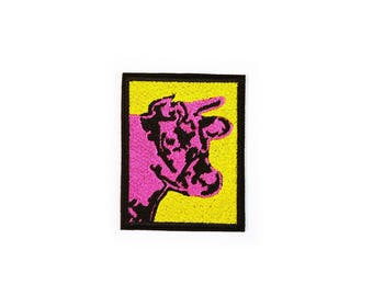 Cow Patch Iron On Embroidered Patches Applique • Bull Pop Art Andy Warhole Picture Rock Grange Pink